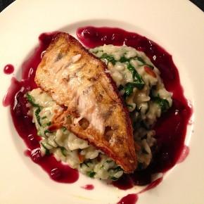 Zander auf Spinatrisotto an Rotweinsauce oder: Fisch mit Reis